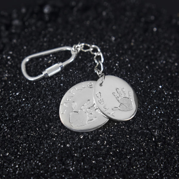 Double Oval Hand Print Keyring