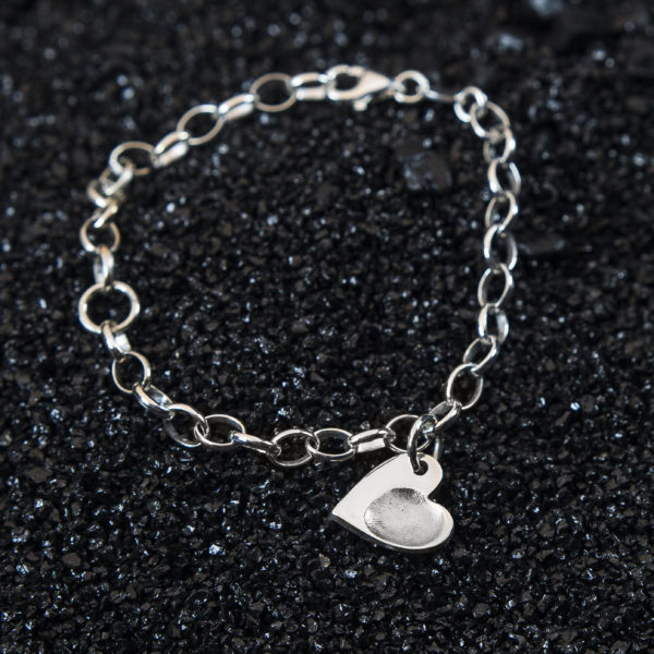 Childs Heart Fingerprint Bracelet Charm