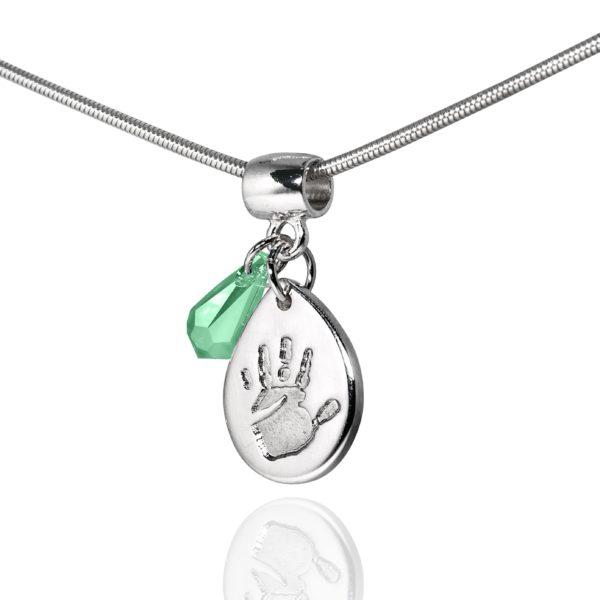 Teardrop handprint necklace