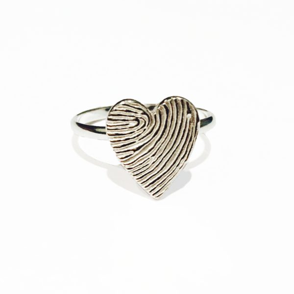 Heart Fingerprint Ring, memorial jewellery