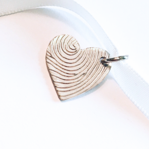 Modern heart fingerprint pendant