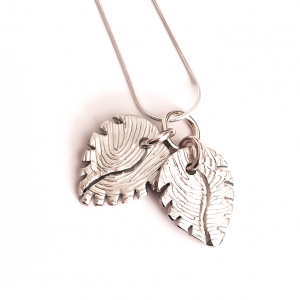 leaf fingreprint pendant