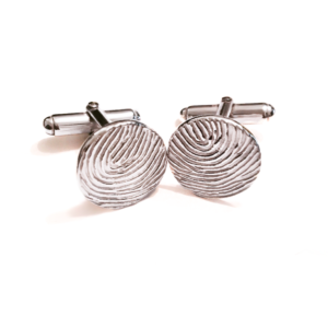circular raised fingerprint cufflinks