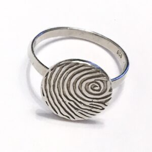 round personalised fingerprint ring