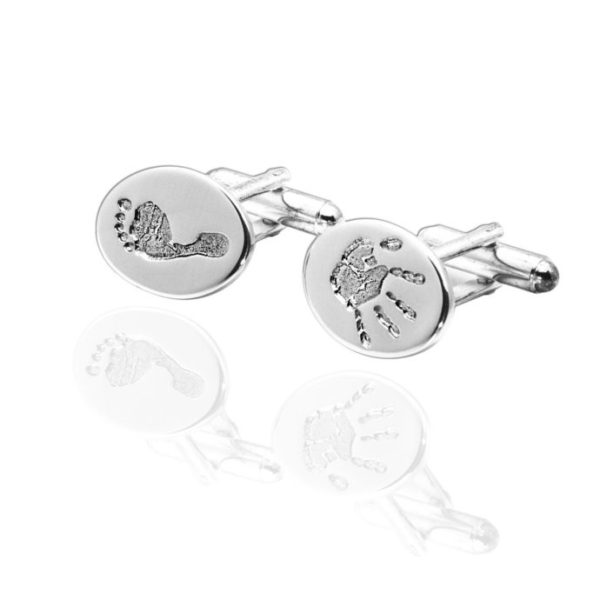 Oval baby hand and footprint cufflinks