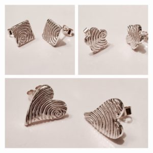 Fingerprint jewellery earrings. personlaised earrings