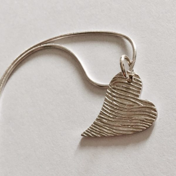 Personalised Long-Heart Fingerprint Pendant