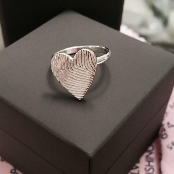 Personalised fingerprint heart ring