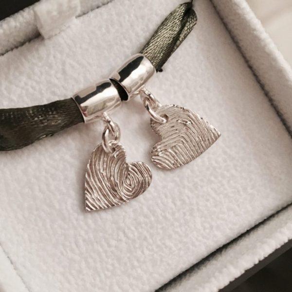 Heart fingerprint pandora bracelet charm