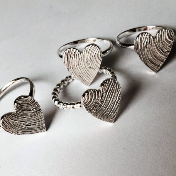 Heart personalised Fingerprint Ring