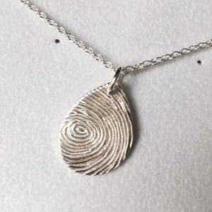 Teardrop fingerprint handmade jewellery