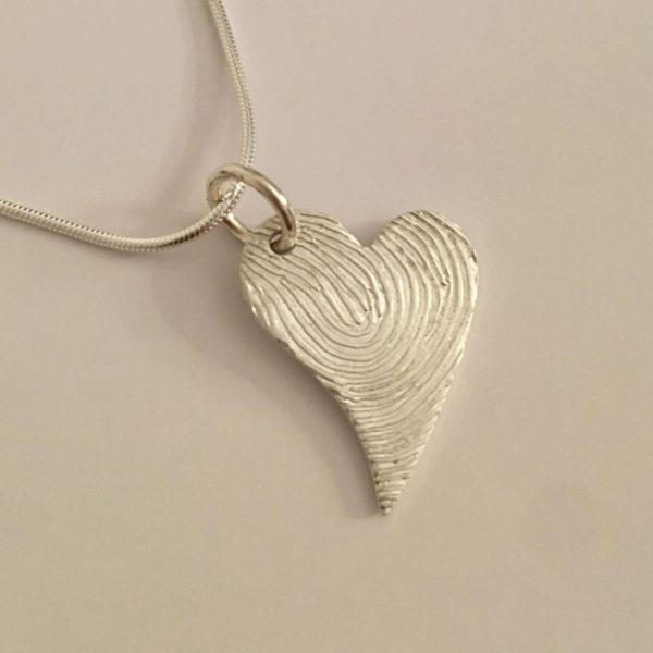 long hearted fingerprint pendant