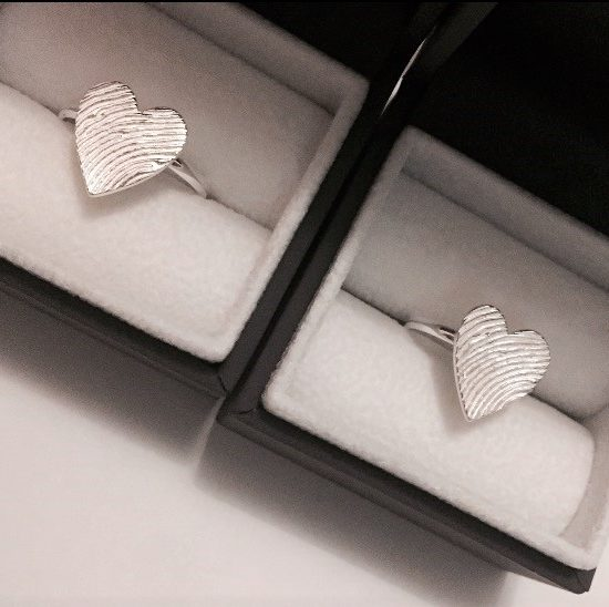 Personalised Heart Fingerprint Rings