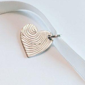 Modern heart fingerprint pendant