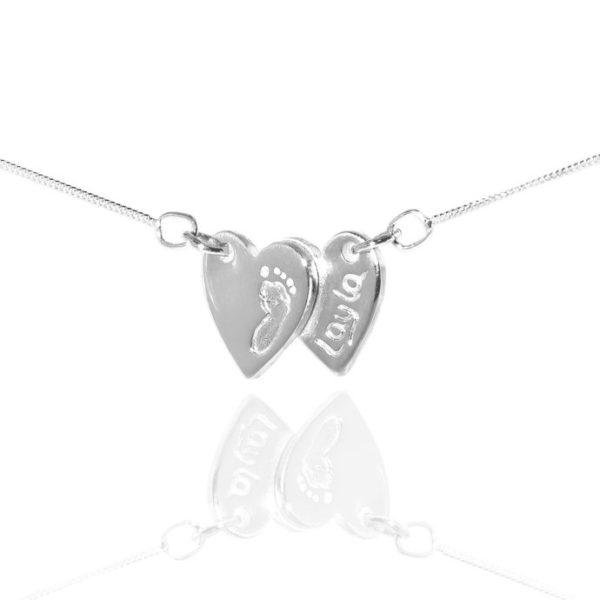 double heart footprint pendant