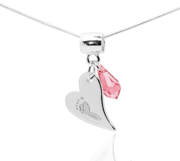 heart footprint necklace with pink gems