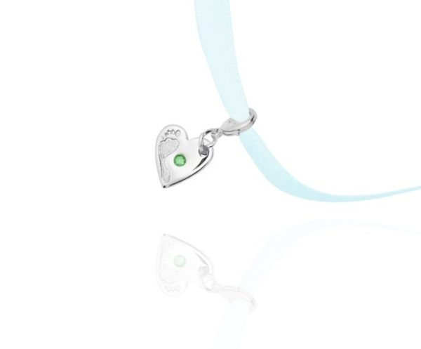 green stone footprint charm