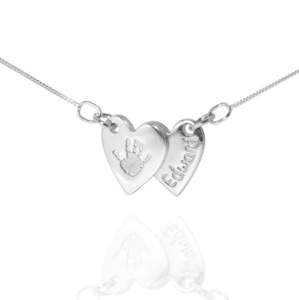 double heart handprint pendant