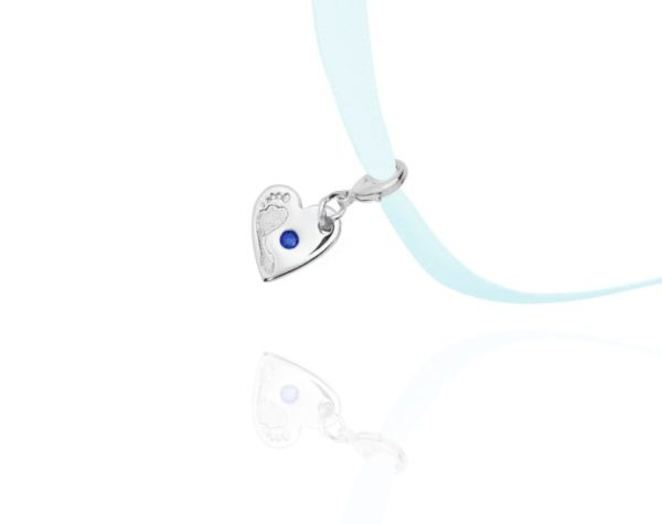 blue stone footprint charm