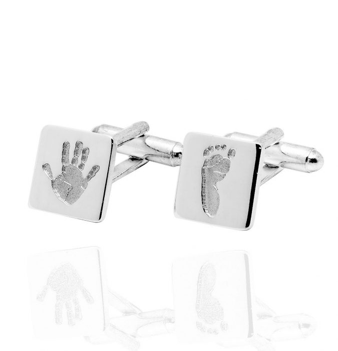 Square hand and footprint cufflinks