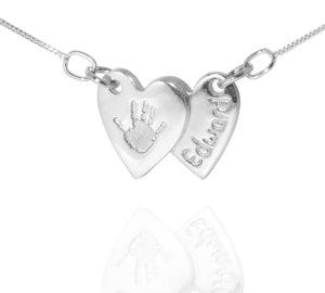 double heart handprint jewellery pendant