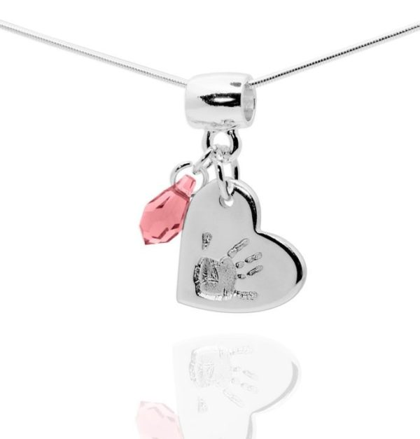 Double Heart Handprint Necklace