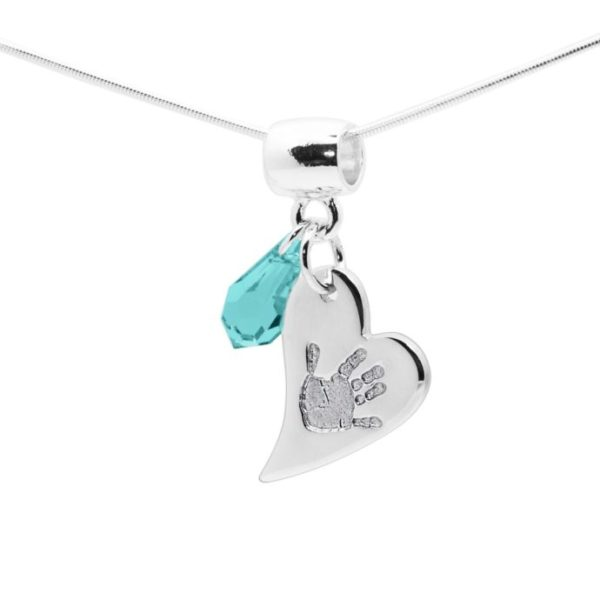 heart handprint necklace with swarovski gem