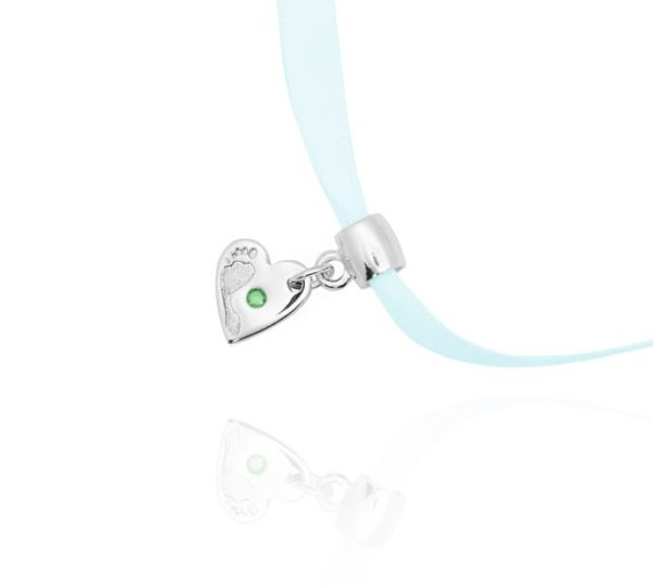heart footprint charm with green stone