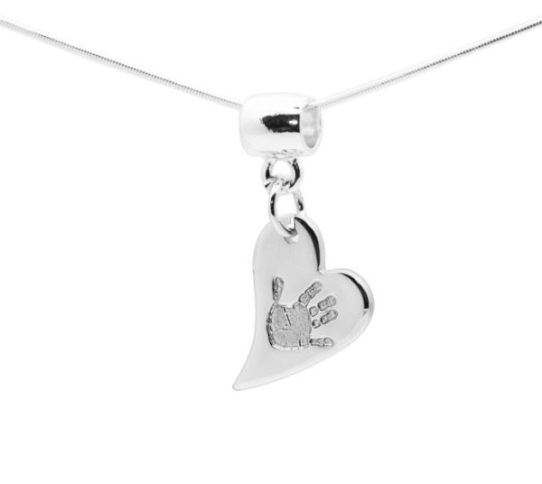 Heart handprint jewellery necklace