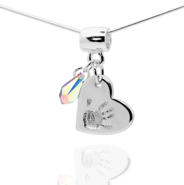 Heart handprint necklace and stone