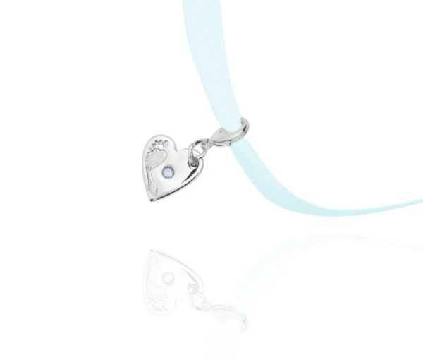 footprint heart charm with stone