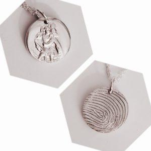 Circle St Christopher Fingerprint Pendant
