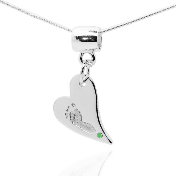 footprint Heart Pendant with green stone