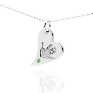 Handprint Heart Pendant with green stone