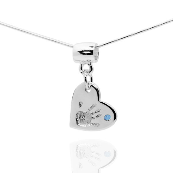 heart handprint pendant with blue stone