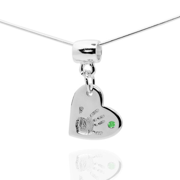 heart handprint necklace with green stone