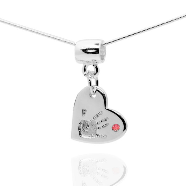 heart handprint necklace with pink stone
