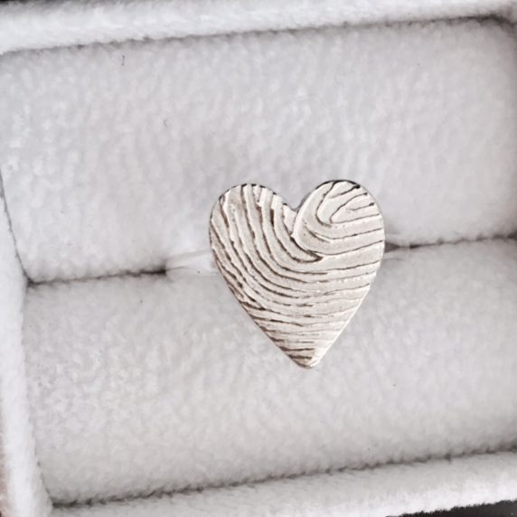 fingerprint silver heart ring