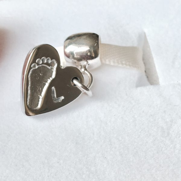Silver Footprint Bracelet Charm