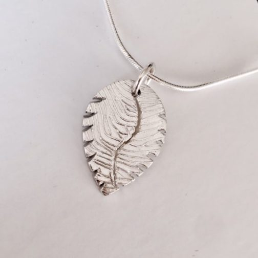 Personalised Fingerprint Leaf Pendant