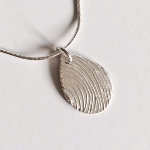 personalised teardrop fingerprint necklace