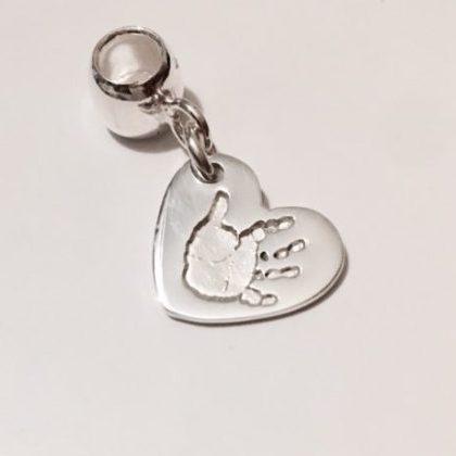 Heart Handprint Pandora Compatible Charm