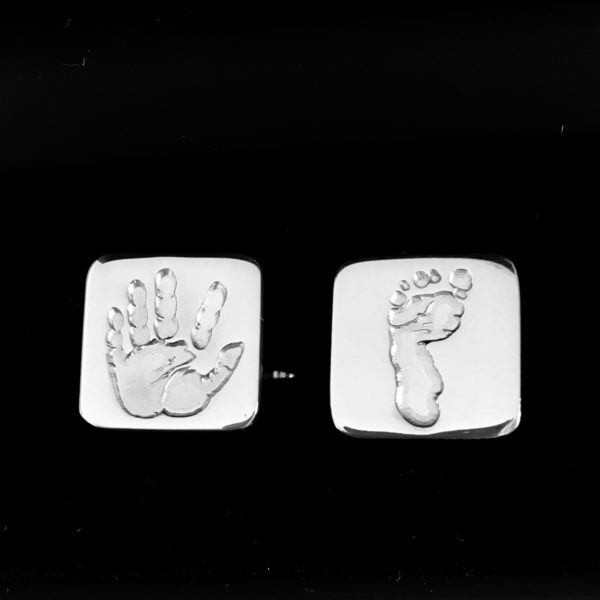 personalised hand and footprint square cufflinks