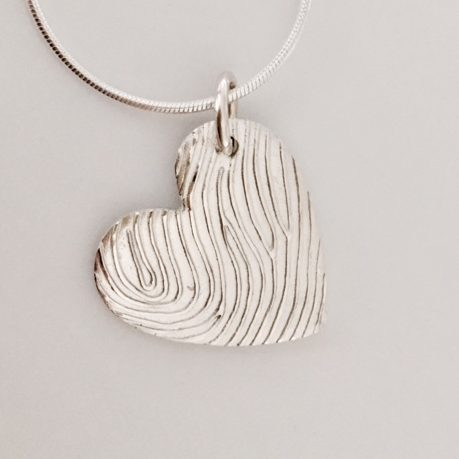 silver fingerprint heart pendant