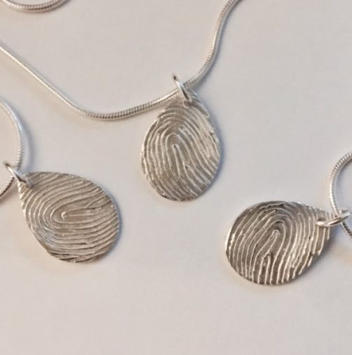 Teardrop Fingerprint Pendant memorial jewellery