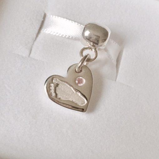 Pandora Style footprint Bracelet Charm