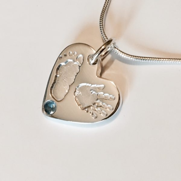 Hand & Footprint Pendant with blue stone