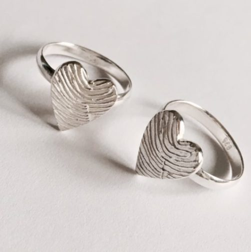 Personalised Heart Fingerprint Ring