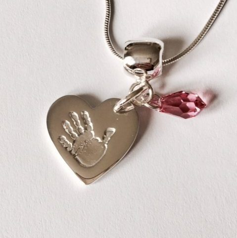 personalised handprint heart pendant with pink stone
