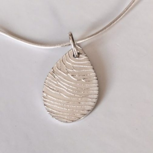 Teardrop Fingerprint Pendant